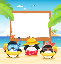 Summer Penguins With Billboard vector image