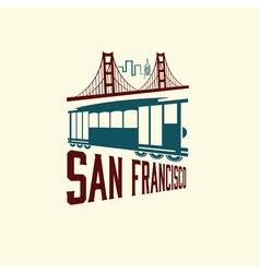 San francisco golden gate bridge and tram vector
