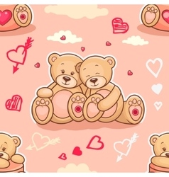 Teddy bears in love samless vector