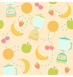 Blender and fruits seamless pattern vector