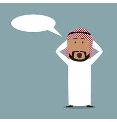 Surprised arabian businessman with speech bubble vector
