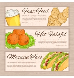Set of hand drawn fast food banners with vector