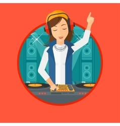 Smiling dj mixing music on turntables vector