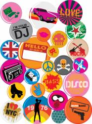 Badges 80s style pop retro vector