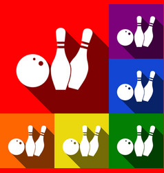 bowling sign set of icons vector image