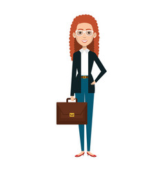 Businesswoman with portfolio avatar character icon vector