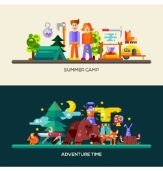 Camping and hiking website banners set vector image