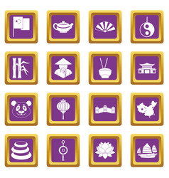 China travel symbols icons set purple vector