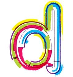 Colorful Grunge font Letter d vector image vector image
