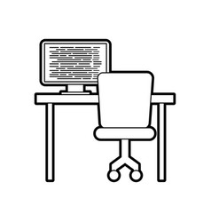 Computer with screen coding desk chair network vector