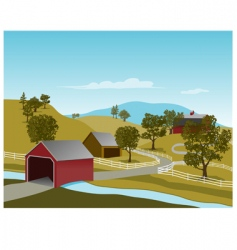 Covered bridge scene vector