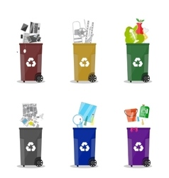 Diffrent waste recycling categories garbage bins vector