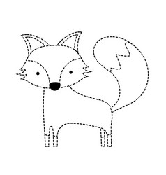 Dotted shape cute fox wild animal of the forest vector
