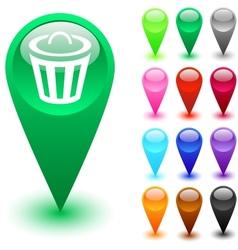 Dustbin button vector image