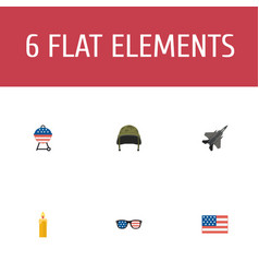 Flat icons fire wax american banner soldier vector