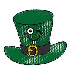 Irish elf hat kawaii character vector