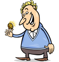 Lucky man with golden coin cartoon vector