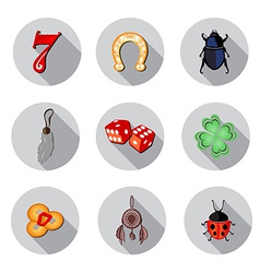 Lucky symbols icons set vector