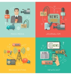 Mass media concept flat business composition vector image