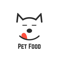 Pet food logo with dog icon vector