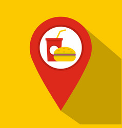 red map pointer with fast food sign icon vector image