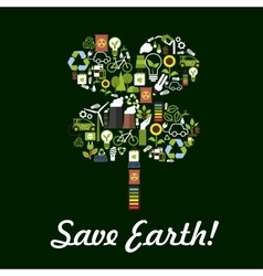 Save earth poster environment protection symbol vector
