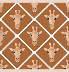 seamless pattern with giraffes rhombuses on beige vector image vector image