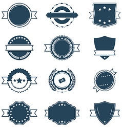 Set of blank blue and white retro labels vector image vector image
