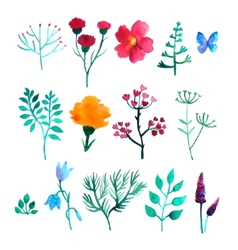 Set of watercolor plants vector