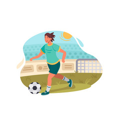 Soccer player plays football vector
