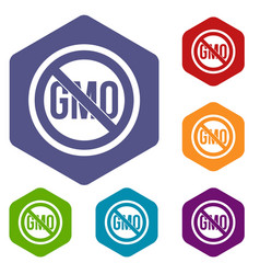 Stop gmo icons set hexagon vector