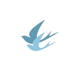 stylized silhouettes of two swallows vector image vector image