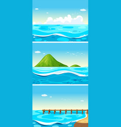three scenes of ocean at daytime vector image vector image