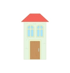 White house with a red roof icon cartoon style vector image