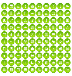 100 housework icons set green circle vector