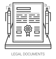 Legal documents line icons vector