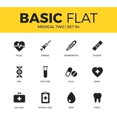 Basic set of medical two icons vector