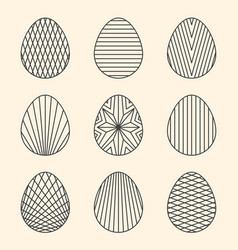 Set of linear minimal easter egg art on beige vector