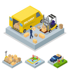 Isometric delivery concept with loading process vector