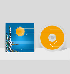 Cd cover design template night coastal city moon vector