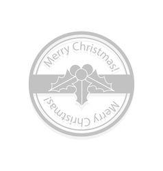 Holly berries Christmas stamp vector image
