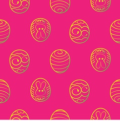 Easter seamless background Decorated eggs on a red vector image