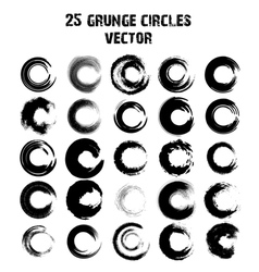 Set of 25 different grunge circles vector