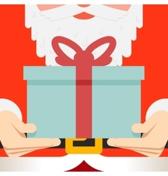 Santa claus hold hands gift present beard belt vector
