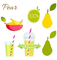 Pear fruit and juice set vector