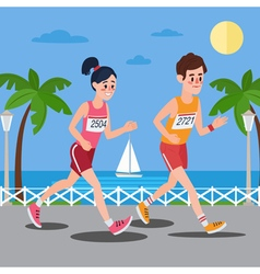 Marathon runners man and woman running vector