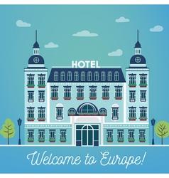 European Hotel City Hotel Vintage Building Hotel vector image