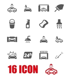 Grey car wash icon set vector
