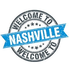 Welcome to nashville blue round vintage stamp vector