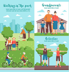 Active grandparents outdoor compositions vector